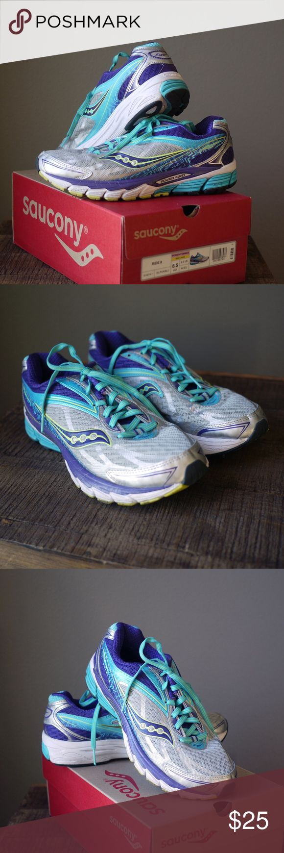 Saucony Ride 8 Shoes Saucony Ride 8 shoes used a few times. Mesh/synthetic, rubber sole, cushioned road running and training shoe, lace-up closure; women size: 8.5 Saucony Shoes Sneakers
