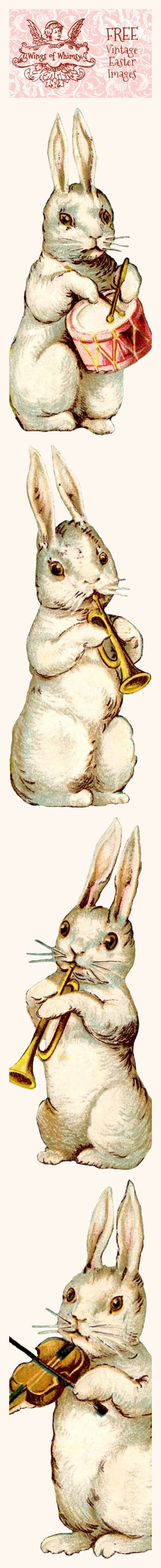 Wings of Whimsy: Vintage Easter Musical Bunnies - PNG (transparent background)