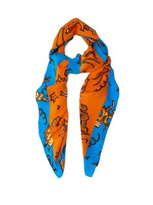 This orange scarf is an easy way to dip into Loewe's retina-searing collection with beloved Ibizan boutique, Paula's. It's emblazoned with an eye-popping clown pattern and contrasted with a sky-blue border. Hand-rolled edges ensure a luxurious finish. Knot it loosely at your neck or tie it around the handle of a favourite tote.