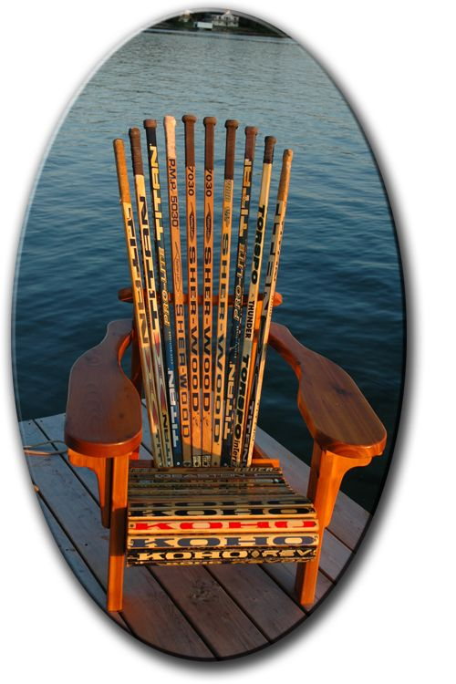 Hockey Stick Chair. Omg could have totally done this with all of Dave's old hockey sticks that his mom saved! Too bad we threw them away.... Maybe if one of the boys take up hockey...