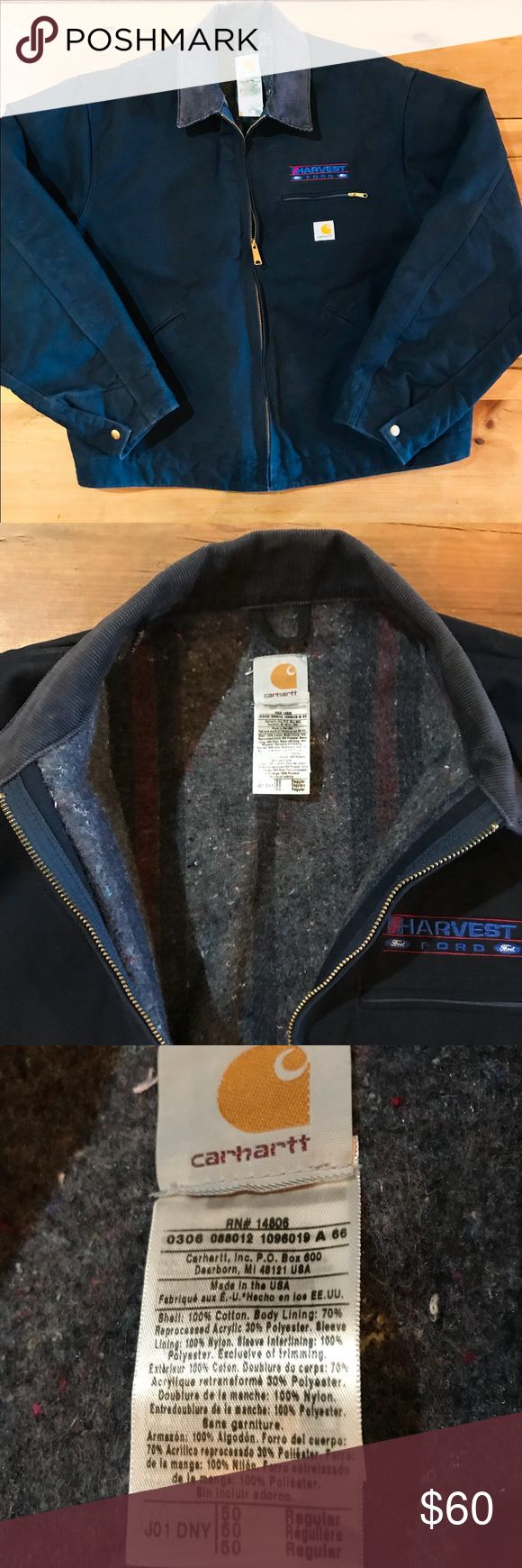 Men's Wool-lined heavy duty coat. CARHARTT 50 R Men's CARHARTT Navy Blue- Wool lined Jacket.  BRAND NEW, NEVER WORN!!!!  DOES SOMEONE YOU LOVE WORK            OUTSIDE???? Heavy duty work coat! ***This may require a bit more postage Carhartt Jackets & Coats Military & Field