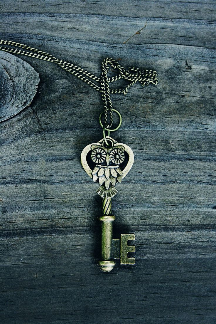 Owl Key Charm Necklace by MythicalFolk on Etsy, $14.00