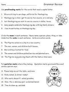 Thanksgiving Grammar Review Worksheet For Second Grade Language
