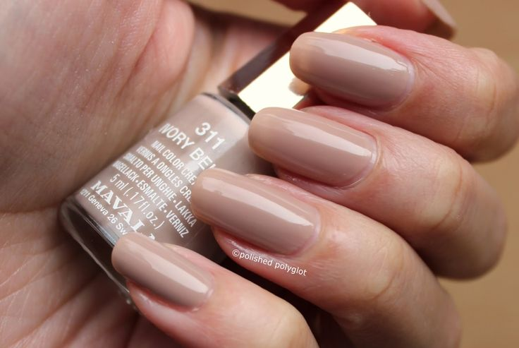 """Here you can see a high quality swatch of Mavala Ivory beige nail polish, for the Prompt """"I"""" of the ABC nail polish Challenge."""