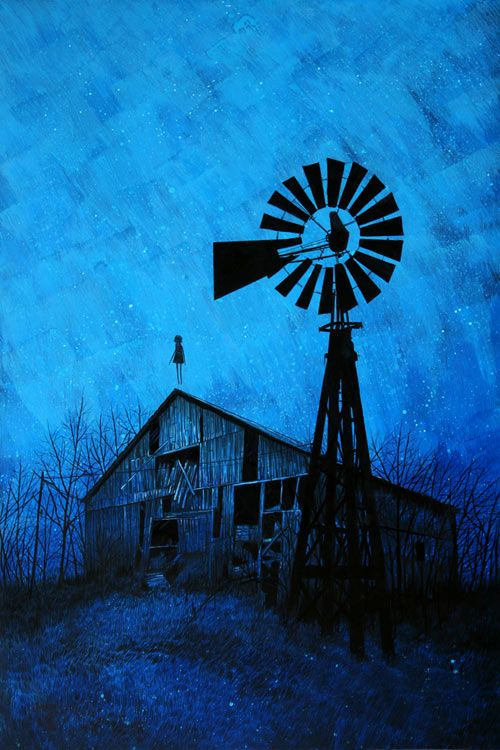 Barn And A Windmill