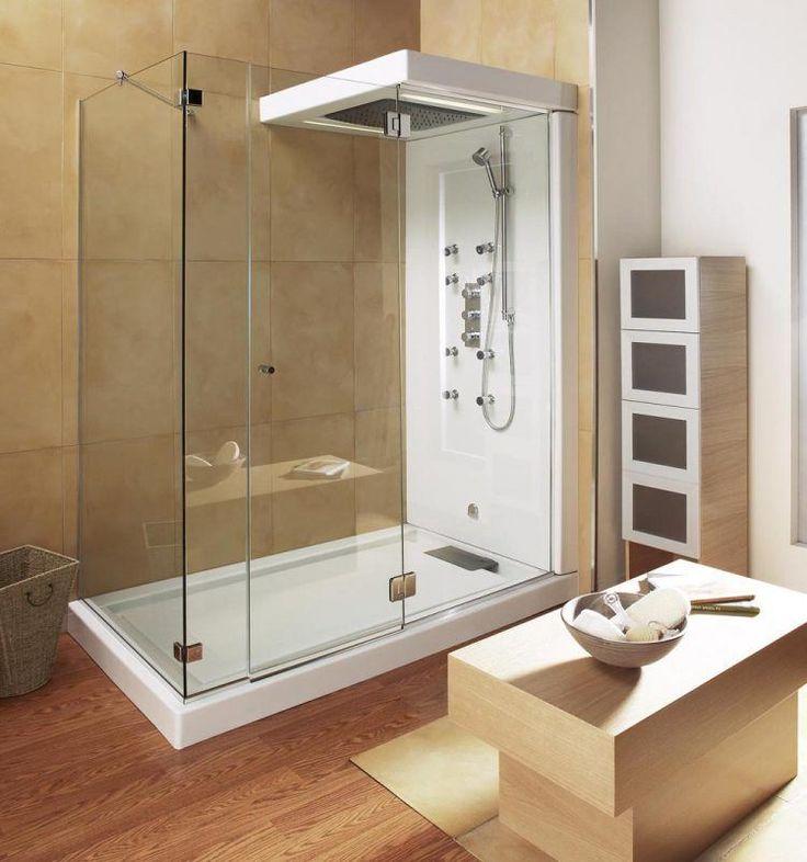 Chic Modern Small Bathroom Ideas with the Wooden Veneer Floor