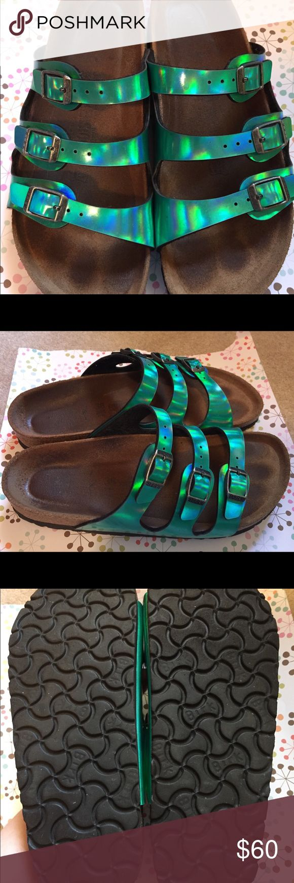 Birkenstock Florida Mirror Green Gently used Birkenstock Florida Mirror Green   Genuine Birkenstock (see photo). The bottom treads are in great condition - very clean and little to no wear! Beautiful, vibrant green! Birkenstock Shoes Sandals