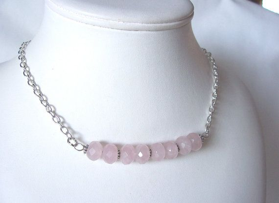 For #Spring! Soft pink rose quartz necklace bar necklace by #sydemcgus -etsy