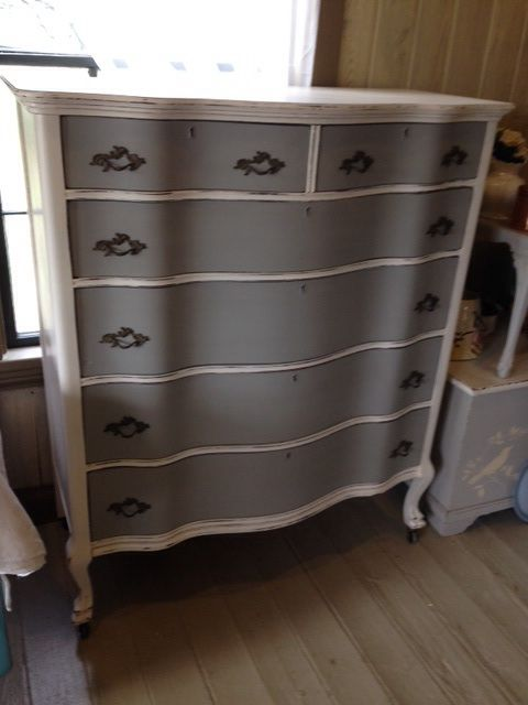 Amazing tall chest of drawers painted in VM&D LACE WHITE AND TWIG GREY, lightly distressed and waxed to perfection.