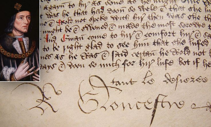 The signature of a teenage king in waiting: 550-year-old hand-written book is signed by Richard III and contains his personal motto