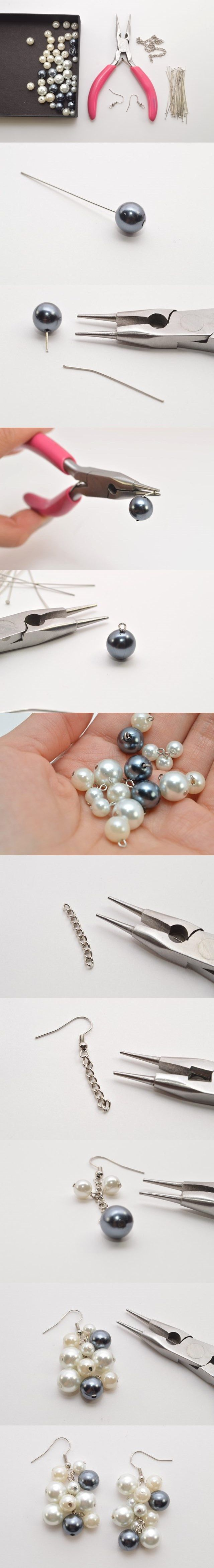 Easy Tutorial on Pretty Pearl Cluster Earrings Making