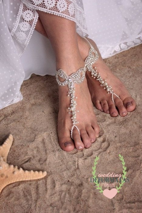 Check out Beach Wedding Foot Jewelry, Foot Thong,Bare Foot Sandals, Bridal foot jewelry,Pearl and Rhinestone Beach Shoes, Bohemian Barefoot Sandals on deformatas