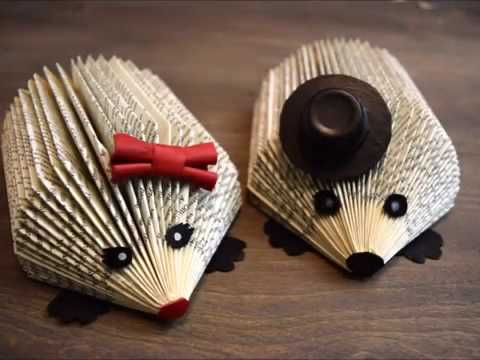 DIY Easy Hedgehog Book Art - YouTube - not strictly crochet but still cute.