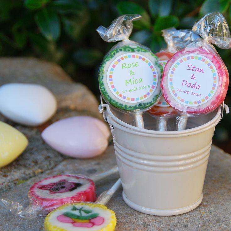 Sucette ronde personnalisable aux prénoms des mariés - Bonbons Candy Bar Mariage - cadeau invités