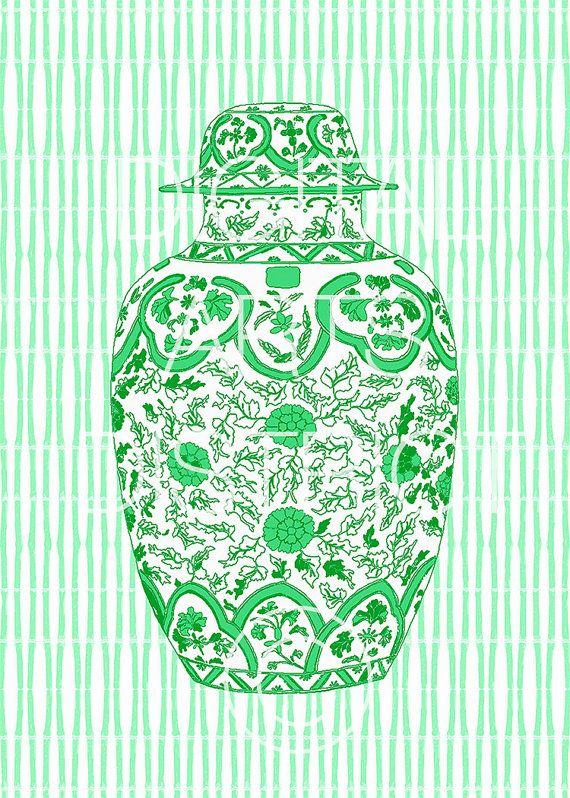 Printable Ming Ginger Jar in Green and White Instant Download