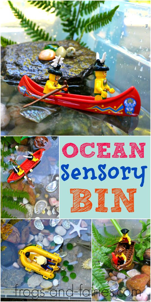 Ocean Sensory Bin Adventure - FUN summer PLAY idea! Have your little piece of the seaside right in your home, garden or balcony! Frogs-and-Fairies.com