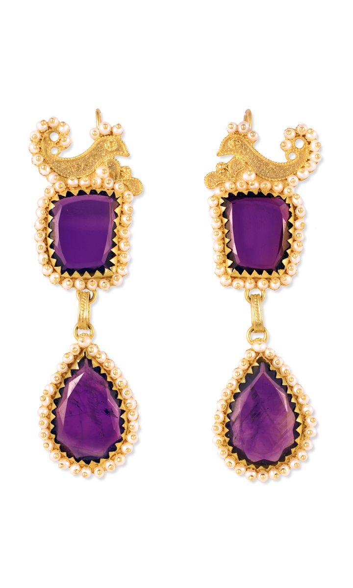 Gorgeous 18K gold filigree earrings with Amethysts Handcrcrafted by Loredana Mandas
