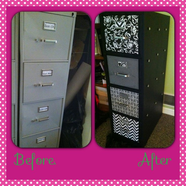 Updating old metal filing cabinets...using chalkboard paint and mod podge!