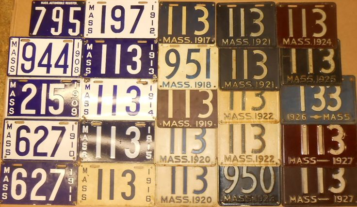 Sixty plates - MA three digit from MA Register to 1970's, some pairs - Realized Price: $4,025.00
