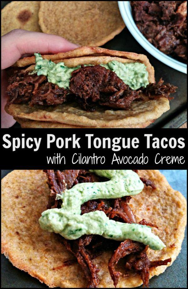 pork tongue tongue tacos avocado creme cilantro avocado creme ...