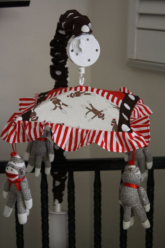 sock monkey patchwork crib mobile musical