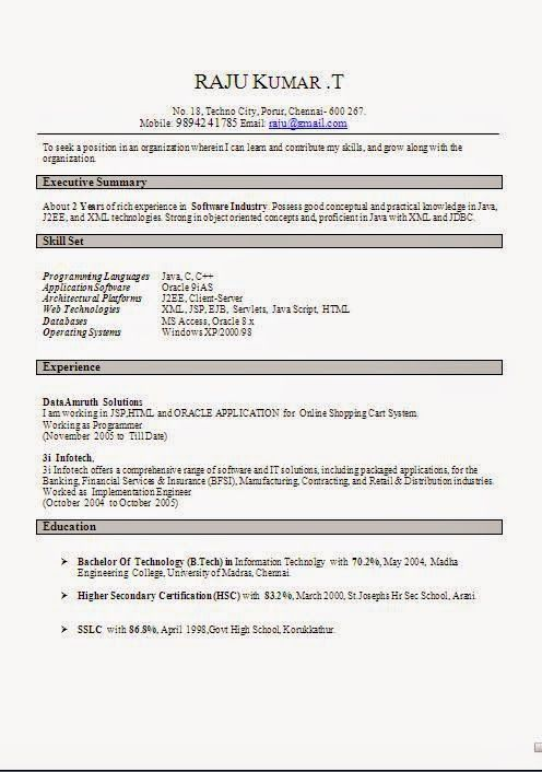 fazer curriculum Sample Template Example of Excellent Curriculum - j2ee fresher resume