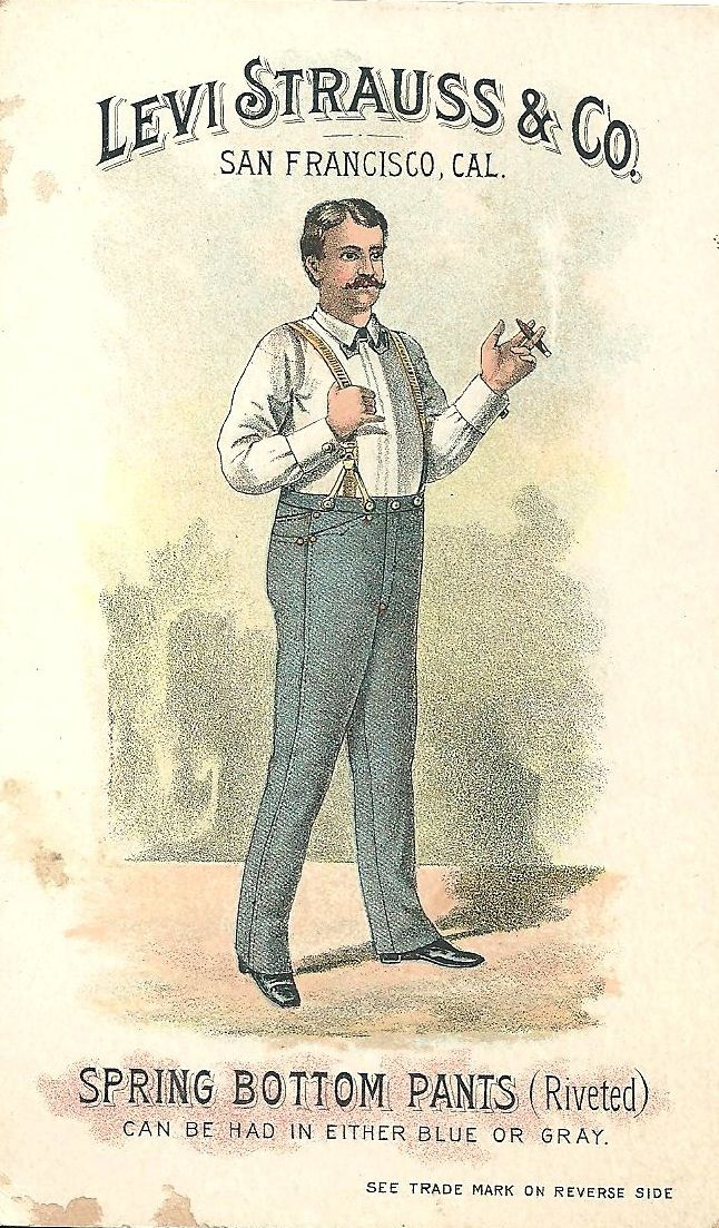 Levi Strauss & Co Spring Bottom Pants Trading Card, 1889