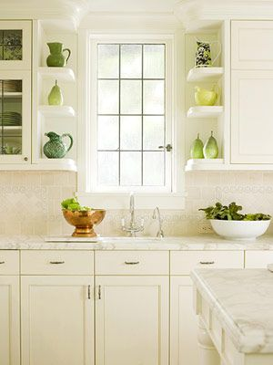 The Jewel Box Home   Corner Type Shelves Green Kitchen
