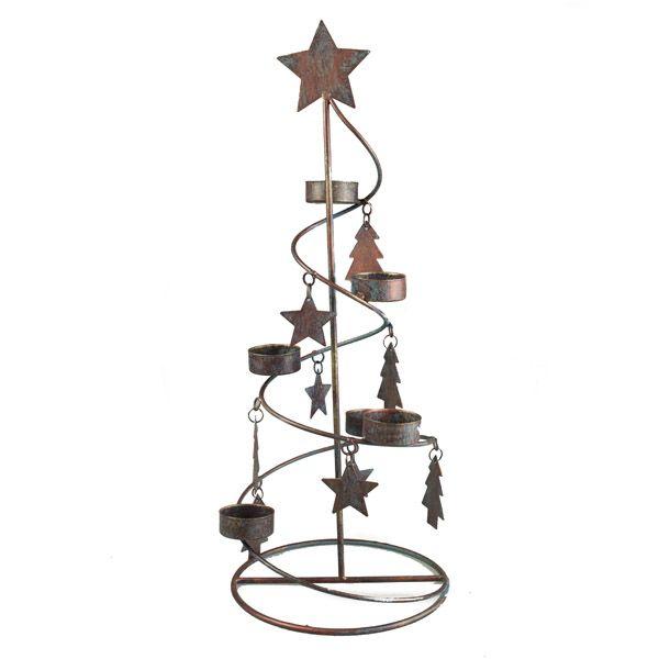 Copper and Blue Distressed Metal Spiral Tree Design Tea Light Holder