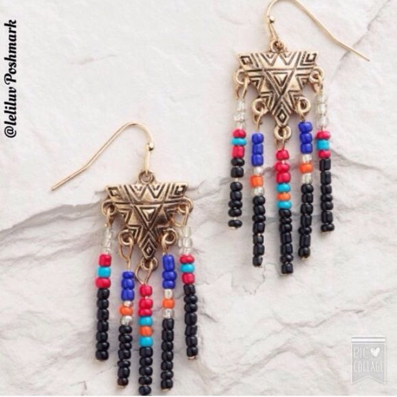 "Aztec/tribal pattern beaded earrings NWT, so cute! Dangle earrings made of metal with gold finish and acrylic. Colorful beads hang from a tribal/Aztec-like gold triangle. O.6"" L. No trades, No PayPal. Jewelry Earrings"