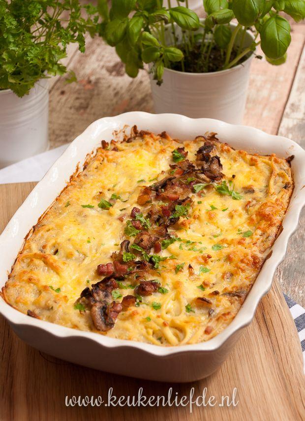 Spätzle-ovenschotel met spek en champignons - Keuken♥Liefde
