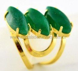Anel 3 Pedras Quartzo Verde Navete Aro Ajustavel Banho Dourado Cod 44.4