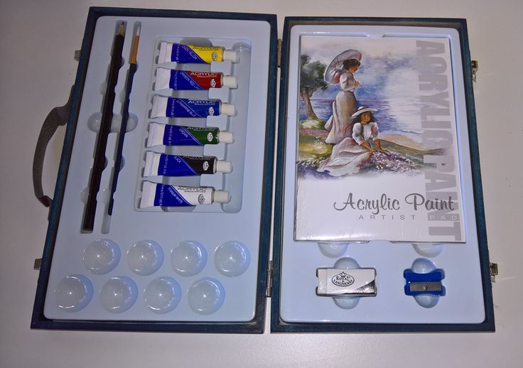 Inside the Royal & Langnickel Acrylic Travel Easy Artist Painting Set box. The set includes: 6 Essentials Acrylic Paints:  Titanium White Black Viridian Ultramarine Blue Crimson Red Lemon Yellow 1 Golden Taklon Round Paint Brush 1 Drawing Pencil 1 Sharpener 1 Eraser 8 Mixer Palettes 1 Artist Acrylic Sketch/Paint Pad