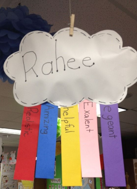 Adjective activity. Have children come up with words to describe themselves and make a rainbow to attach to their cloud.  I LOVE THIS!!!!