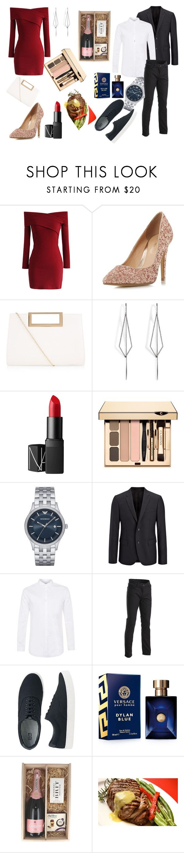 """""""Date night"""" by elmaa-128 ❤ liked on Polyvore featuring Chicwish, Head Over Heels by Dune, New Look, Diane Kordas, NARS Cosmetics, Emporio Armani, Joseph, Topman, Uniqlo and Versace"""