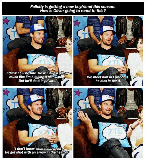 """""""Felicity is getting a new boyfriend this season. How is Oliver going to react to his?"""" #Arrow Interview via TVLine. #SDCC2016"""