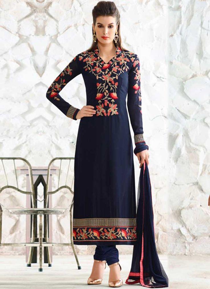 Navy Blue Embroidery Work Georgette Nazmin Designer Fancy Churidar Suit. Buy online shopping salwar kameez at - Australia.