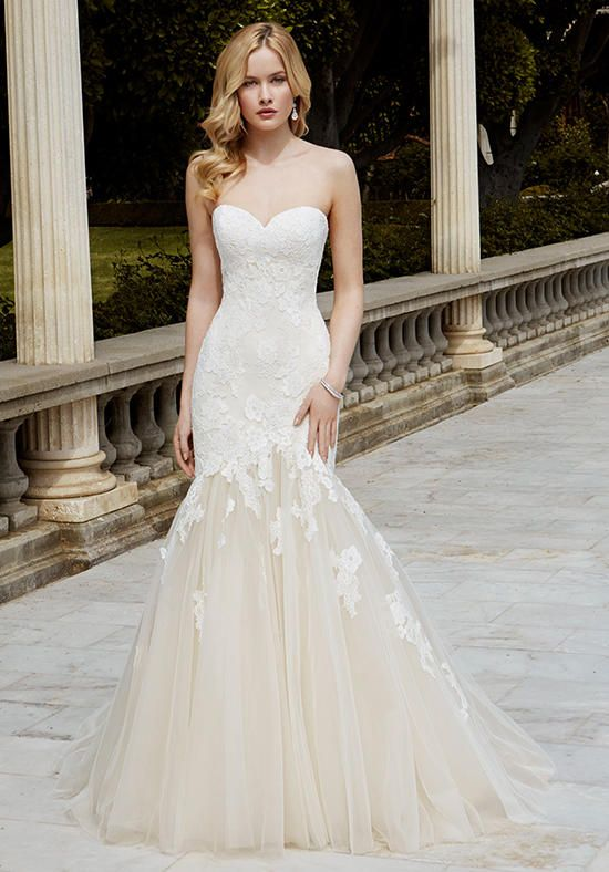 Full-length mermaid gown with sweetheart neckline and embroidered with corded lace over Chantilly lace | Blue by Enzoani | https://www.theknot.com/fashion/ibarki-blue-by-enzoani-wedding-dress
