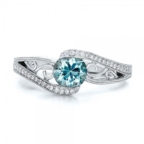 Blue Diamonds Engagement Rings   ... Engagement Rings › Custom Blue Zircon and Diamond Engagement Ring