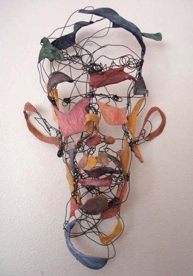 Wire head sculpture. Middle or high school.