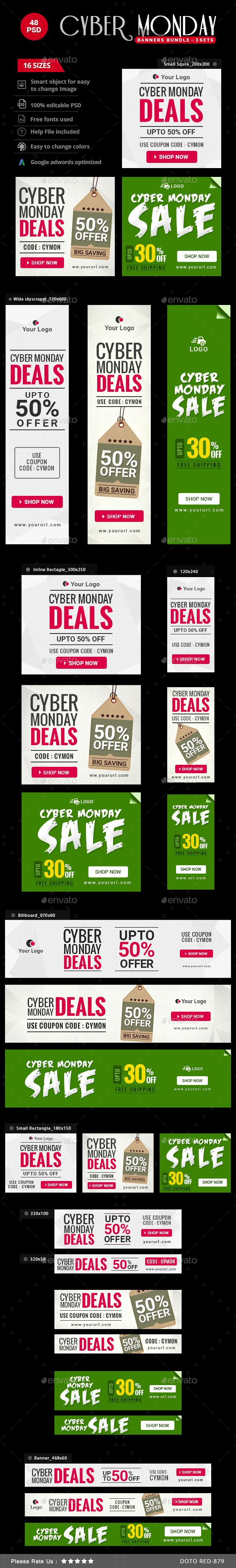 Cyber Monday Sale Web Banners Bundle - 3 Sets Templates PSD #design #ads Download: http://graphicriver.net/item/cyber-monday-sale-banners-bundle-3-sets/13841998?ref=ksioks