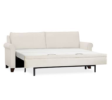 White Leather Sofa Cameron Roll Arm Upholstered Deluxe Sleeper Sofa Polyester Wrapped Cushions Performance Heathered Tweed Ivory