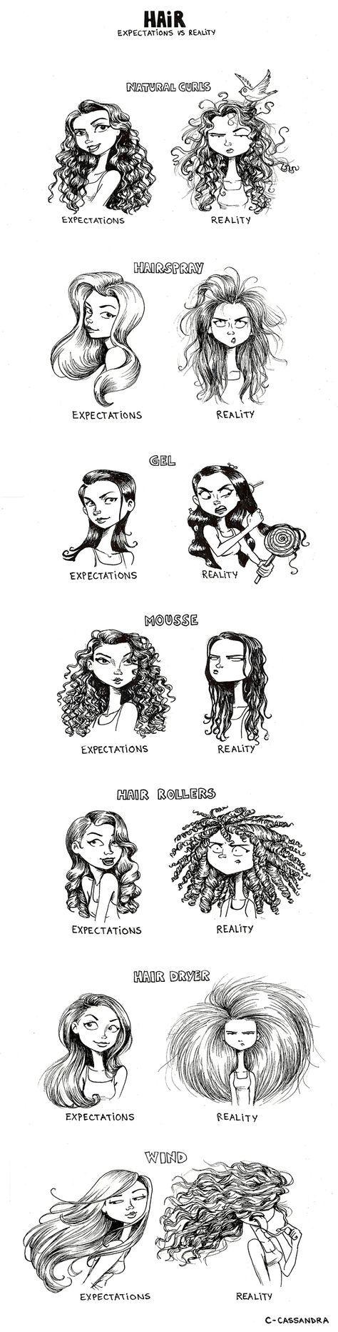 C. Cassandra - Comics - Hair expectations vs reality