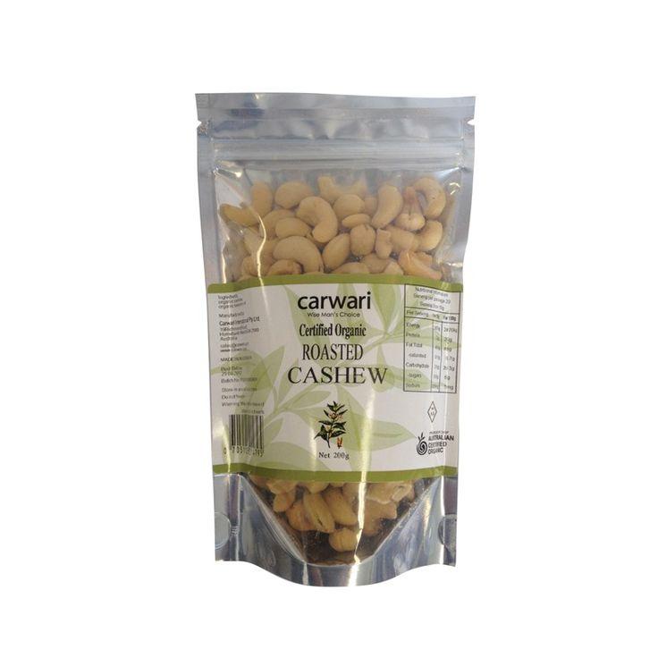 Buy Carwari, Organic Salted Roasted Cashew, 200 g - Health Supplement for sale in Cheapest Online supplements shop megavitamins in Gold Coast, Brisbane & across Australia.