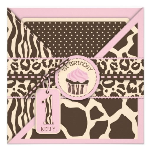 Pink Safari Animal Print & Cupcake First Birthday Personalized Invitation