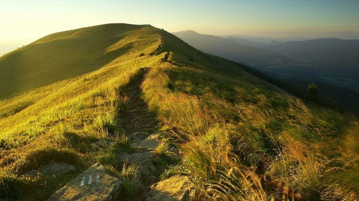 #bieszczady #mountains #landscape #sky #trail