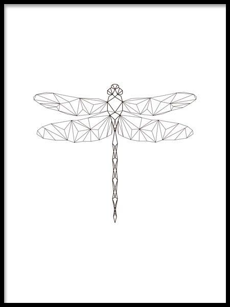 Affisch med trollslända i geometrisk form.