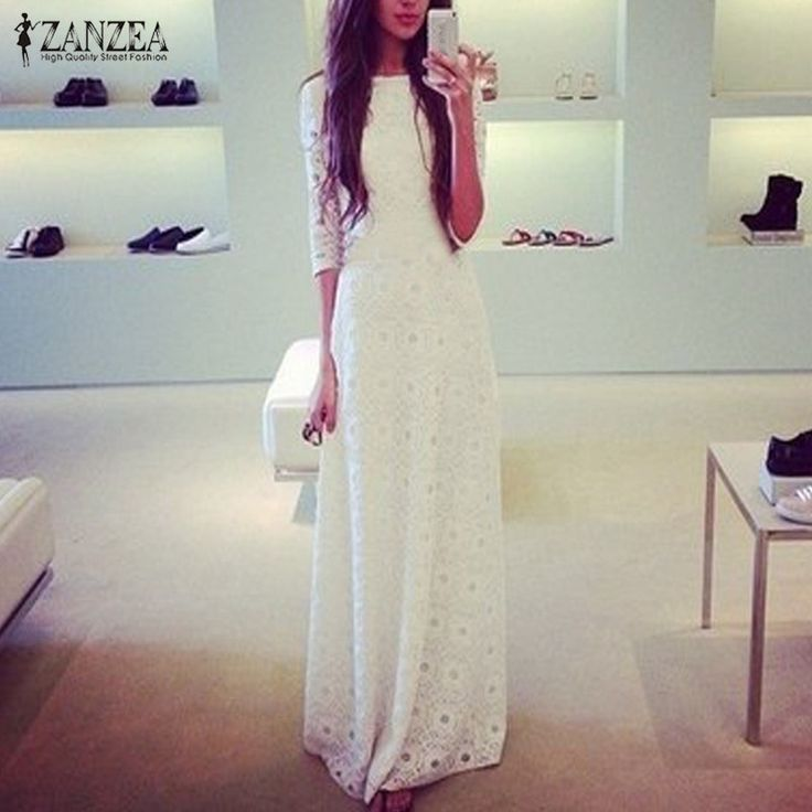 Available Now on our store:  Spring Autumn Wom... Check it out here ! http://mamirsexpress.com/products/spring-autumn-women-elegant-dress-half-sleeve-white-lace-double-layer-boho-maxi-long-dresses-party-vestido?utm_campaign=social_autopilot&utm_source=pin&utm_medium=pin