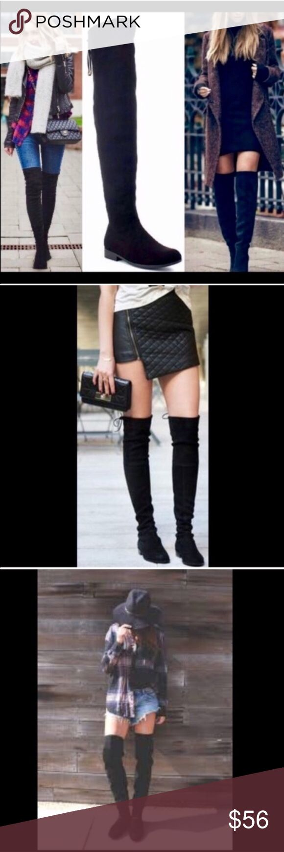"""BEST SELLERBlack Over-the-Knee Boots Drawstring top. Exceptionally soft faux suede.  Inside zipper runs from foot to mid lower leg. Slightly rounded toe. Fabric has give to it. Fits true to size. Approximate measurements, leg opening, 17"""", calf, 15"""", 25"""" shaft height. Center image of covershot and image 4 of actual boots. As with all merchandise, seller not responsible for fit nor comfort. Brand new retail. No trades, no off App transactions or negotiations.  ❗️PRICE IS FIRM UNLESS BUNDLED❗️…"""