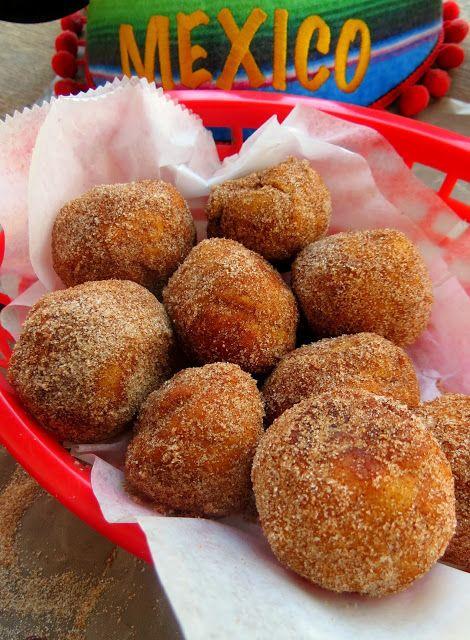 Churro Donut Holes- stuffed with warm chocolate!